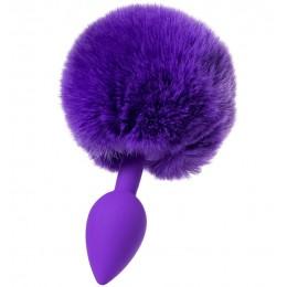 Анальная втулка с хвостом ToDo by Toyfa Sweet bunny, силикон, фиолетовая, 13 см, Ø 2,8 см