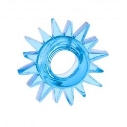 Эрекционное кольцо TOYFA с треугольными шипами синее