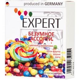 Презервативы Expert ''Безумное ассорти'' №3 цветные с ароматами: тутти-фрутти, вишня, мята
